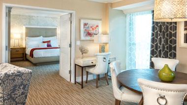 Margaritaville Resort Casino Luxury hotel suite view to bedroom