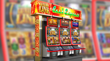 A bank of Cash Express slot machines.