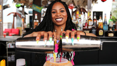 Bartender double pour at Margaritaville