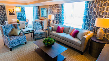 Margaritaville Resort Casino Luxury hotel suite living area