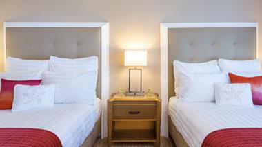 Margaritaville Resort Casino Standard Double Queen Hotel Room view of headboards