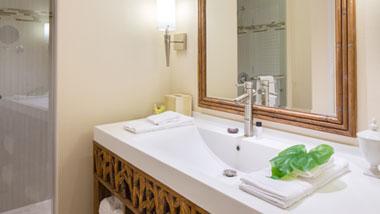 Margaritaville Resort Casino Premium Hotel Room bathroom shower and vanity